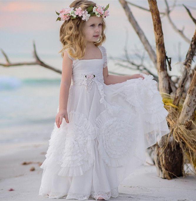 0e70495d4 Graceful Flower Girls Dresses For Weddings Lace Square Neckline Sleeveless  First Communion Dress Floor Length A Line Ball Gowns Tutu Flower Girl  Dresses ...
