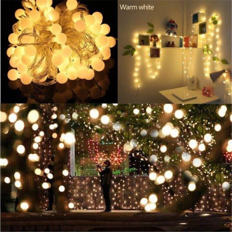 wholesale christmas decoration 10m led string hanging outdoor ball light pisca garland warm white xmas tree fairy graden wedding holiday purple string