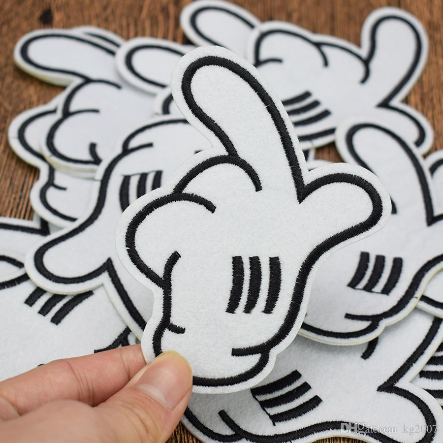 White Glove Patches for Clothing Bags Iron on Transfer Applique Cartoon Patch for Jacket Jeans DIY Sew on Embroidery Badge