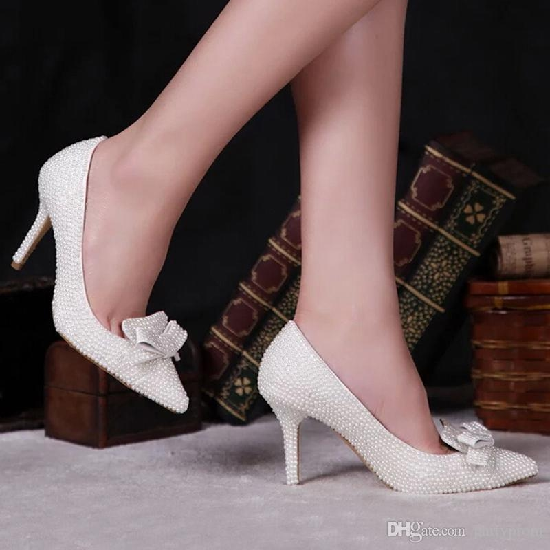 pearl wedding shoes pointed toe pearl shoes bridal wedding shoes ivory color 6428