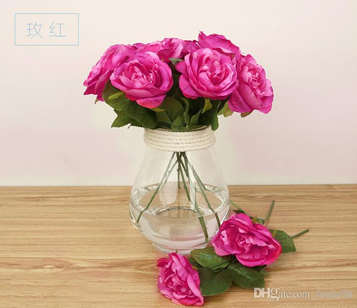 Rose Artificial Flowers Silk Real Touch For wedding Home Design Bouquet Decoration Products Supply HJIA128
