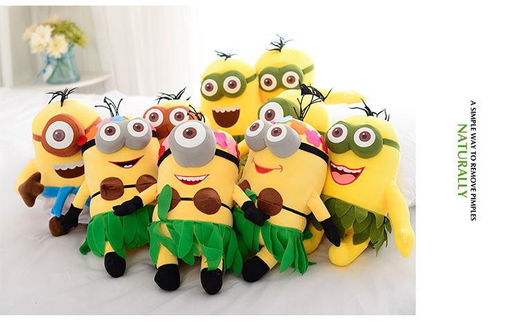 2018 Hot New Style Minions Plush Toys 25cm Despicable Me Kevin Bob Stuart  Stuffed Dolls Hawaii Hula Skirt Style Toys Kid Birthday Gift From ...