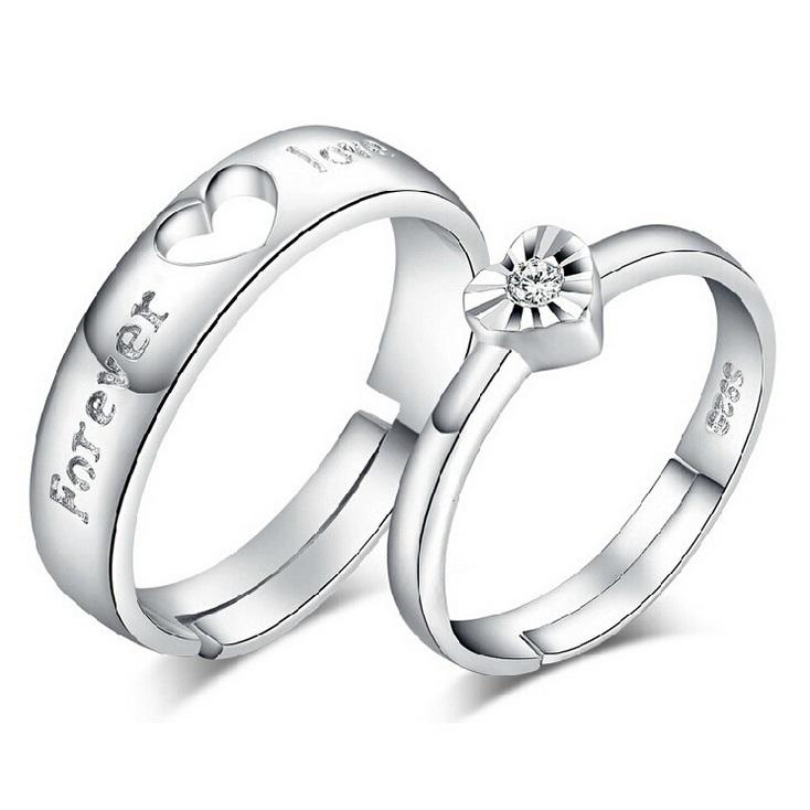 2018 Heart Adjustable Couple Engagement Rings With Stone Wedding