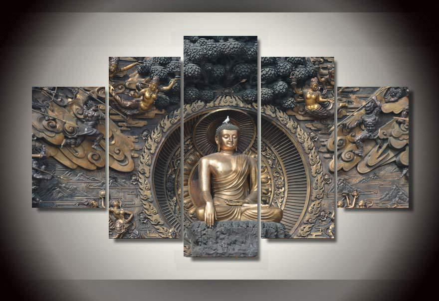 best 5 panel framed painting buddha statue painting wall With best brand of paint for kitchen cabinets with buddha wall art decor