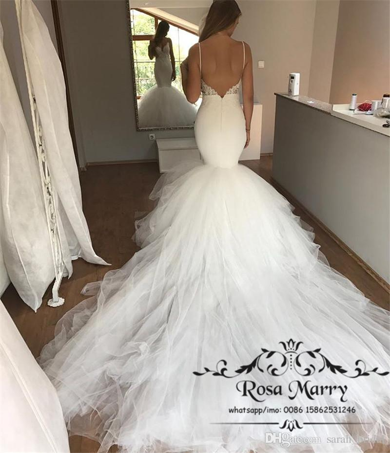 Sexy Chapel Train Mermaid Backless Wedding Dresses 2020 Plus Size Vintage Lace White Tulle Beach Country Cheap Bridal Gowns Vestido De Novia