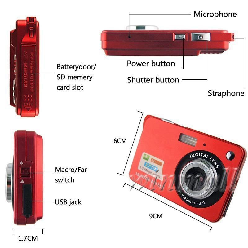 18MP 2.7-дюймовый TFT LCD цифровой камеры видеомагнитофон 720P HD камера 8x цифровой зум DV Anti-shake