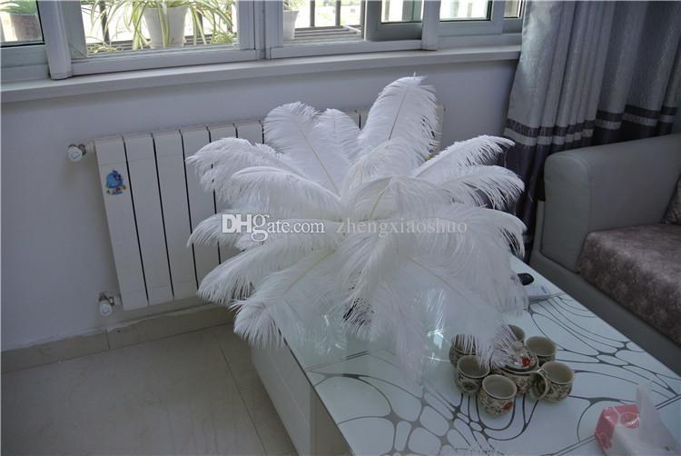 Envío gratis-100 piezas 14-16 pulgadas plumas de avestruz blanco plumas para centros de boda bodas decoración fiesta evento decoración de la fuente