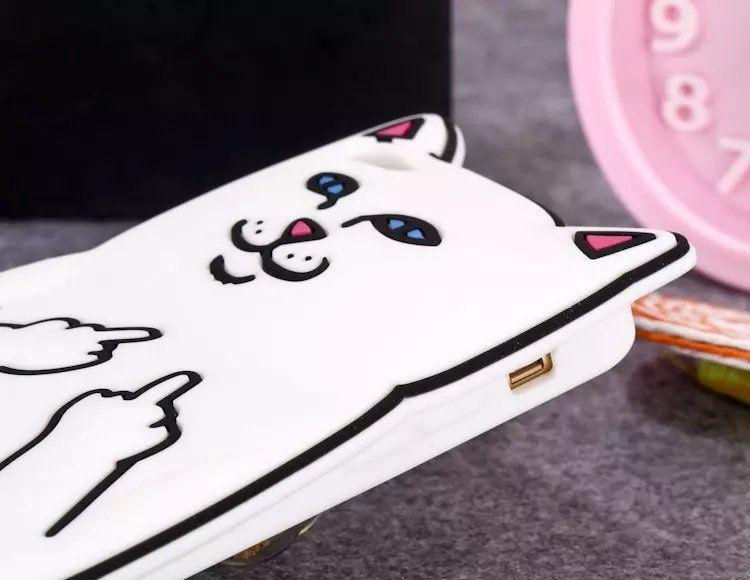 3D Soft Ripndip Finger Middle Cat Cartoon Silicone Case Capa Cover For iPhone X 5 6 7 8 Plus Samsung S6 S7 Edge S8 Plus J2 J5 J7 A5 A7 2017