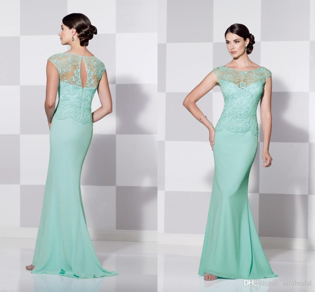 Mint Green Women Mother Of The Bride Dress Scoop Applique Beading Slim Long Chiffon Groom Mum Gown Evening Formal Dresses For Weddings 2015