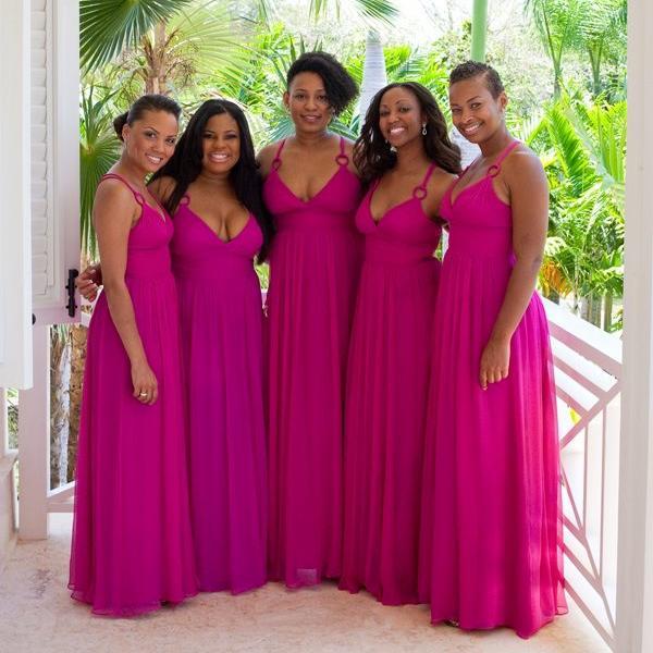 Compre Hot Pink Real Imagen Vestidos De Dama De Honor Reino Unido ...