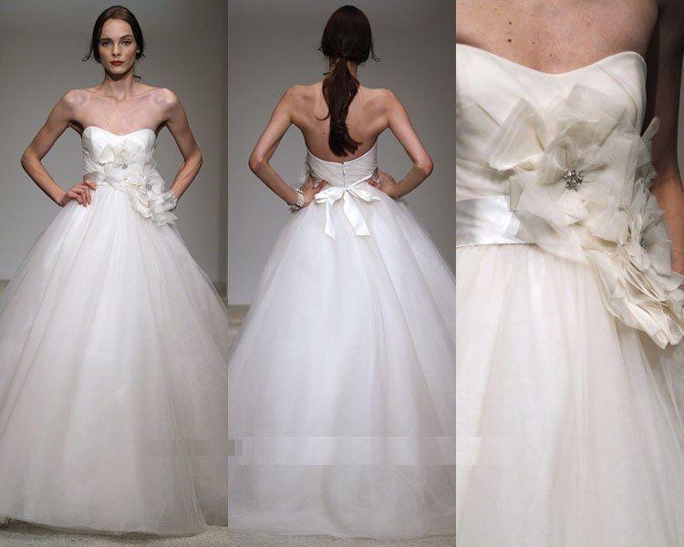 2015 атласный тюль бальное платье Свадебные платья милая бисером длина пола свадебные платья на заказ свадебная одежда с ручной работы цветок створки