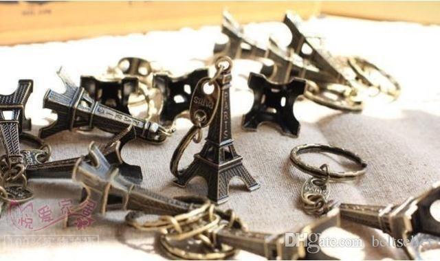 خمر 3d باريس برج ايفل المفاتيح الفرنسية تذكارية باريس كيشاين كيرينغ مفتاح سلسلة حلقة 50 قطعة / الوحدة