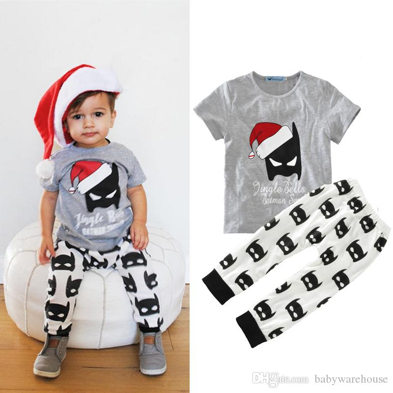 Baby Boy Clothes Cartoon Batman Boys Set Kids Boy Christmas Outfits Tops T  shirt + Batman Pants 2PCS Boys Clothes Set Children Clothing - 2019 Baby Boy Clothes Cartoon Batman Boys Set Kids Boy Christmas