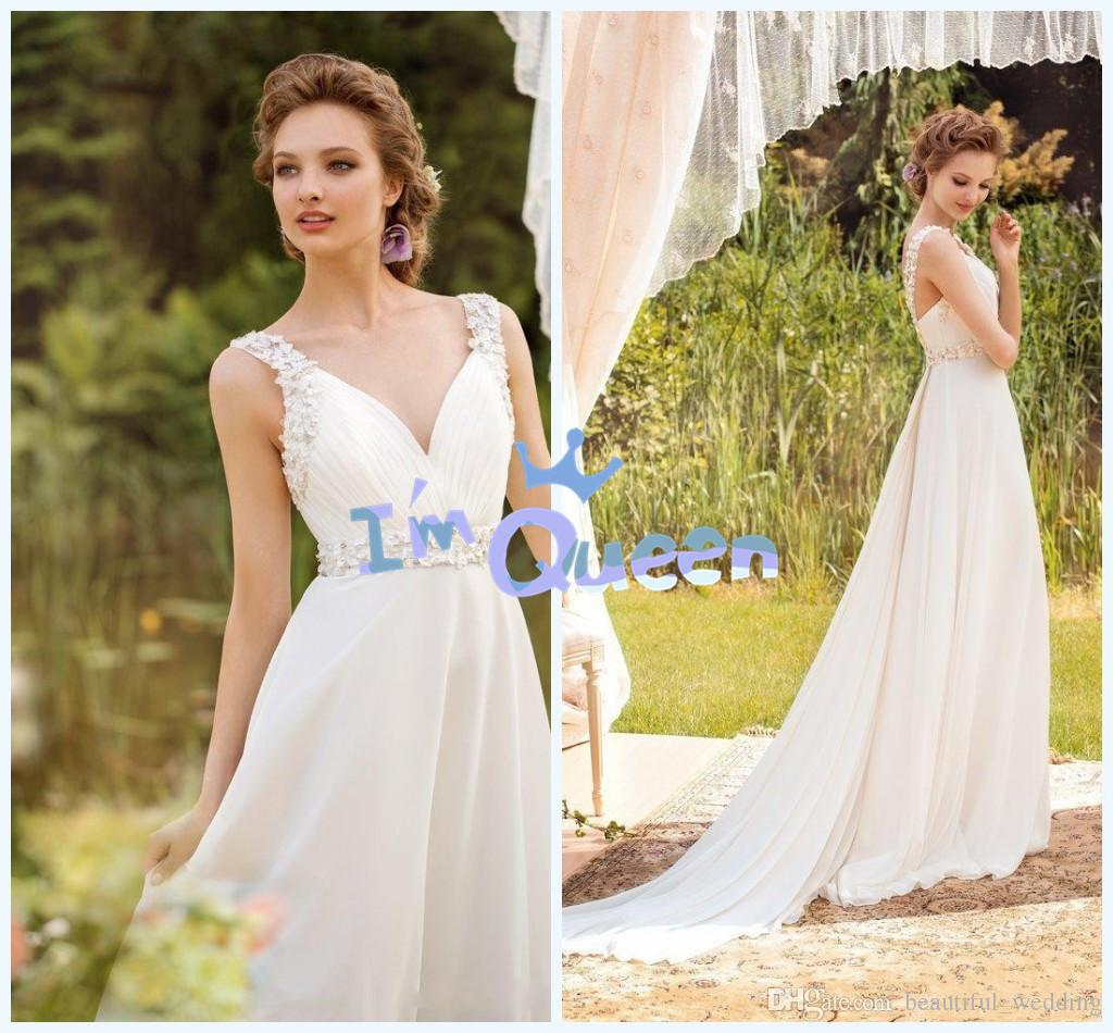 Discount 2015 Latest Bridal Gowns Designs Pretty Applique V Neck