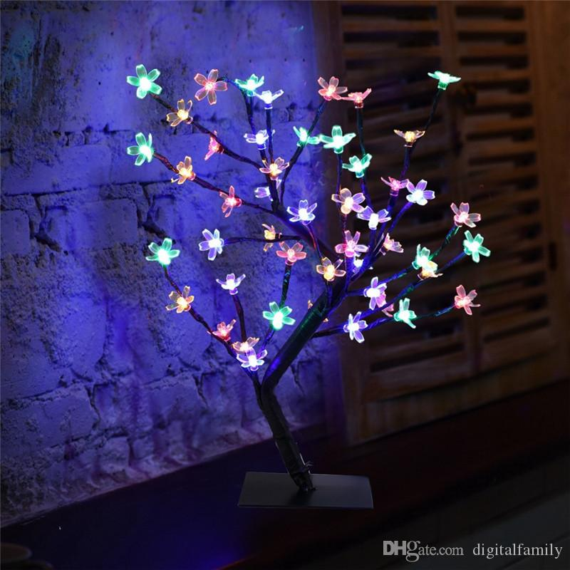 Kristall Kirschblüte 48LED Baum Licht Nachtlicht Tischlampe Schwarz Zweige Beleuchtung Weihnachtsfeier Hochzeit LED Blumen Licht 220V