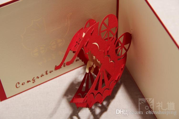 130mm x 160mm Kutlamak Için Bebek duş Taşıma Kartları El Yapımı Yaratıcı 3D Pop UP Doğum Günü Tebrik Hediye Kartları Parti Malzemel ...