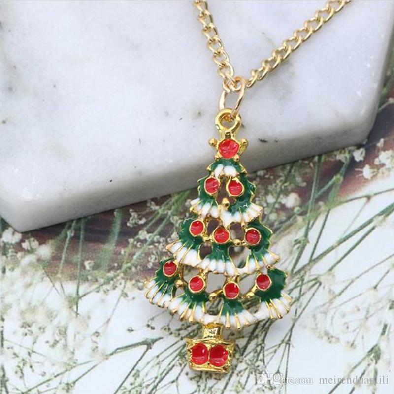 Pendenti di fascino dell'albero di NataleNecklaces Collane del choker della catena di colore dell'oro di modo il trasporto di goccia del regalo di Natale dei bambini dei bambini