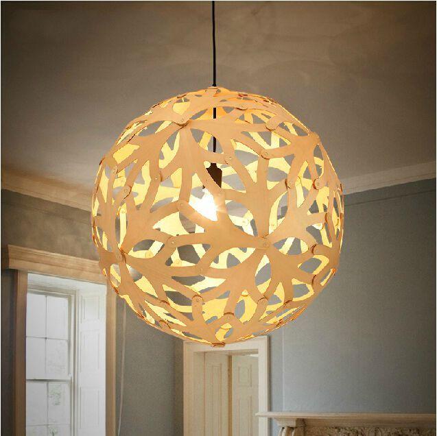 Wood Pendant Lights Modern Restaurant Hanging Lamp Creative Wooden