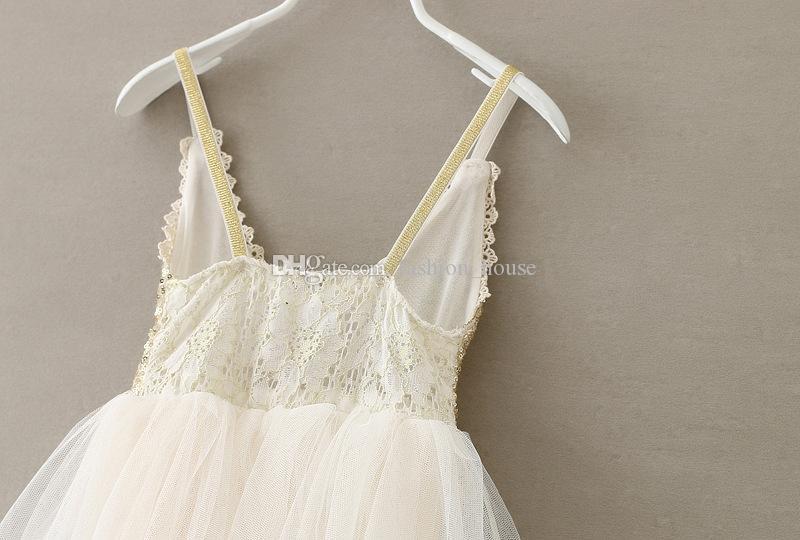 Kızlar Sequins prenses elbise 2015 son yaz çocuk altın sequins askı tül tutu elbise çocuklar parti elbise