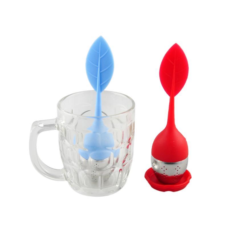 Лист чай Infuser нержавеющей стали силиконовые ситечко для чая с силиконовым подносом силиконовые чай фильтр мешок фильтр кофе инструмент 0702022