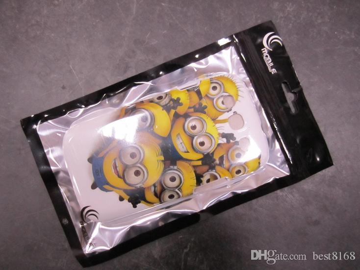 12 * 22cm 소매 포장 지퍼 가방 검은 색 플라스틱 파우치 삼성 갤럭시 S7 S6 에지 S5 S4 주 2 3 아이폰 6 플러스 가죽 케이스 를 들어