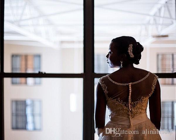 2018 크리스탈 깎아 지른 목 웨딩 드레스 나이지리아 플러스 사이즈 Vestidos de Novia A 라인 로맨틱 스파크 모던 브라 가운