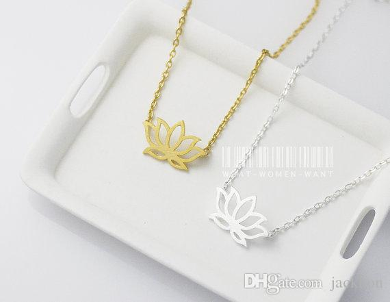 Gold Silver Tiny Lotus Necklace Lotus Flower Necklace Petal Bloom Blossom Necklaces Plant Jewelry for lady women