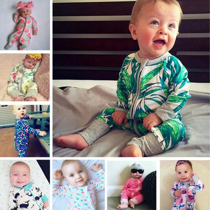 85a869c9fc64 INS Baby Rompers Bamboo Leaf Printed Kids Jumpsuits Pure Cotton ...