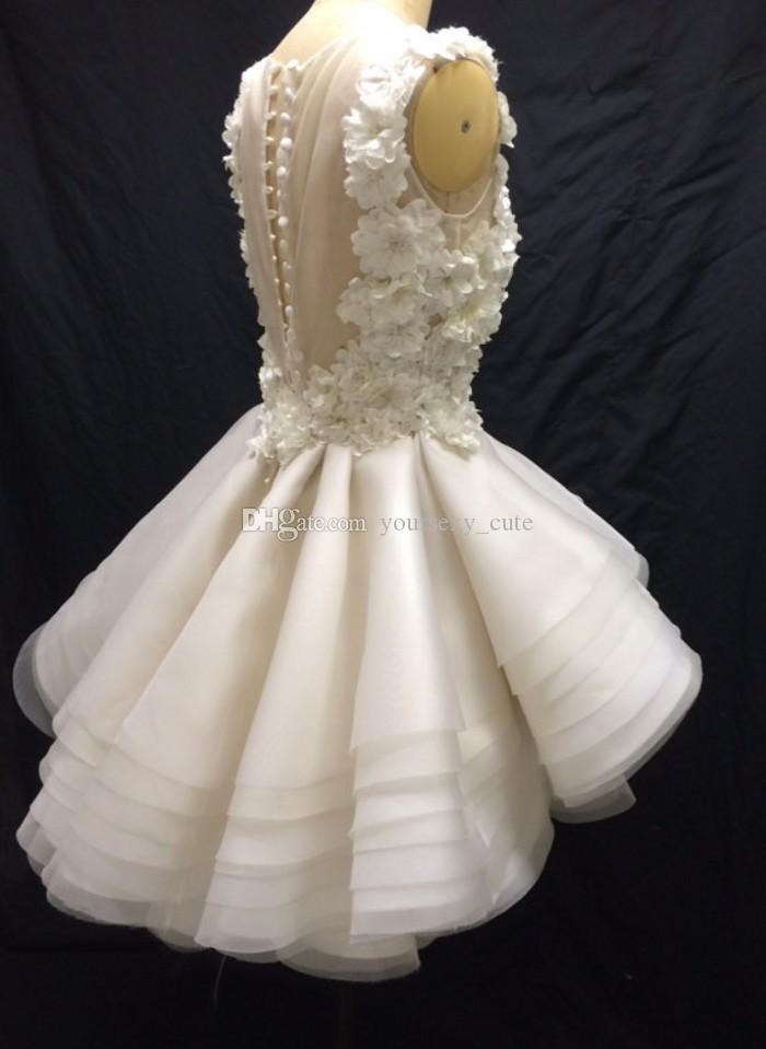 Ivory Floral Organza Short Prom Dresses Sheer Neck Sleeveless Tiered Skirt Illusion Back Ball Gown Prom Dress Cute Party Dresses