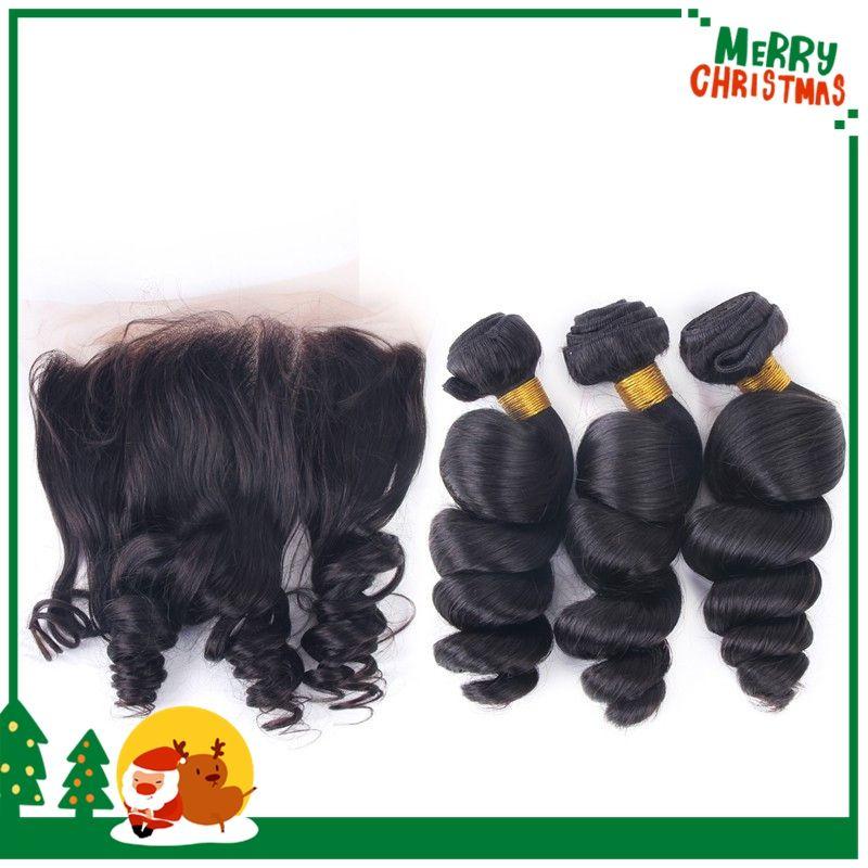 Запас Малайзии девственные волосы естественный цвет 13 * 4 кружева фронтальная закрытие с 3 пучки 4 шт. Много необработанных человеческих волос расширения свободные локоны