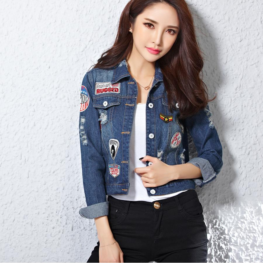 Wholesale Harajuku Women Patches Blue Jeans Jacket Appliques Denim