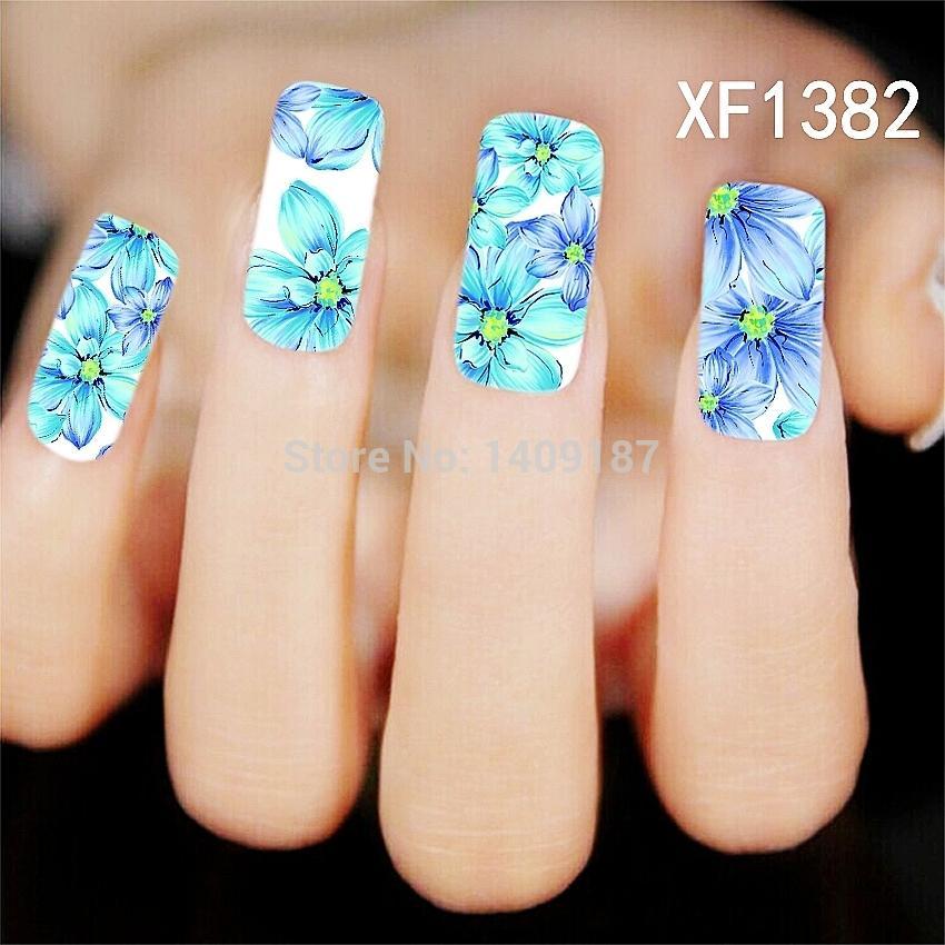 Min Order 5 New 2015 Light Blue Flower Beautiful Water Transfer