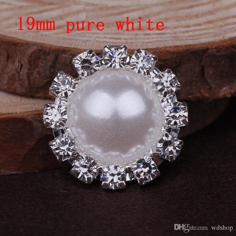 Commercio all'ingrosso 19mm 16mm 14mm Diametro strass abbellimento perla perlina argento placcatura posteriore piana avorio pura perla bianca
