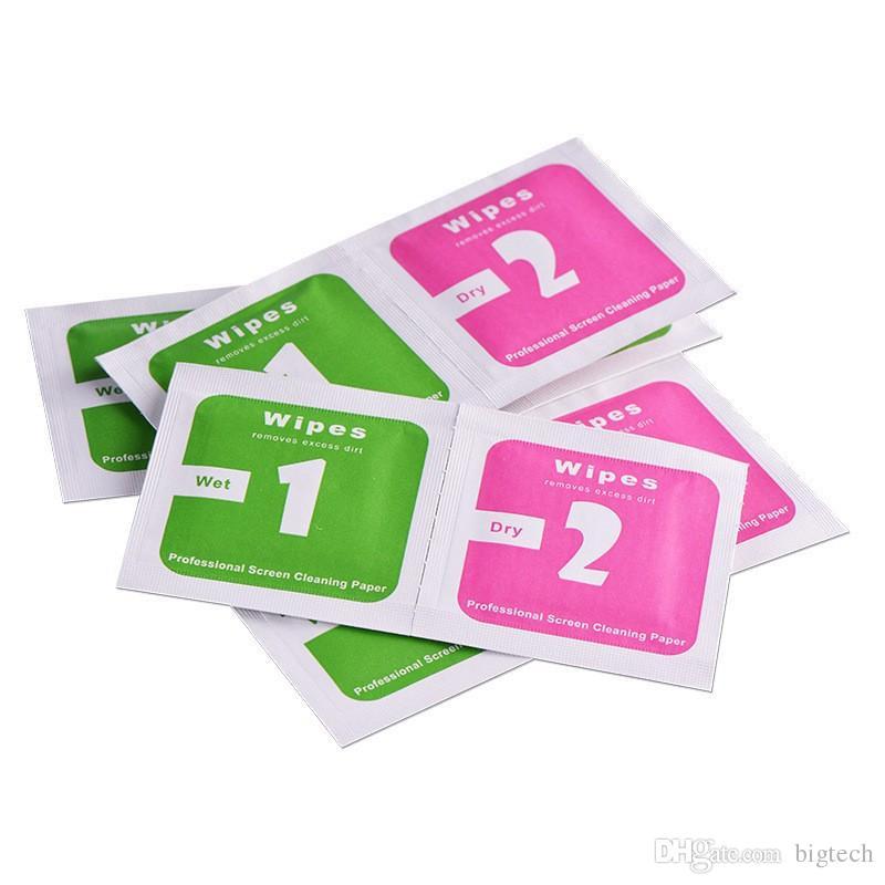 Trocken-Nass-Tücher für gehärtetes Glas-Bildschirm-Schutzart Zubehör Alkohol Pad-Bildschirmreinigungswerkzeuge für das Handy