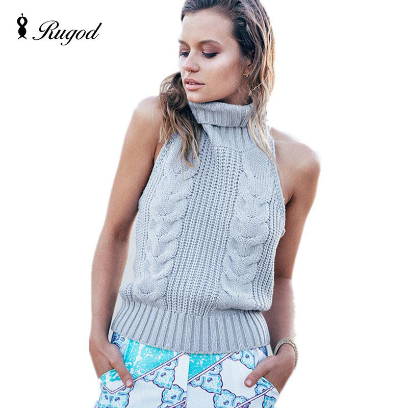 2019 Wholesale 2017 New Fashion Women Sleeveless Turtleneck Knitted Sweaters  Vest Backless Pullovers Female Autumn Winter Sweater Pull Femme From  Donahua 7ddef1693