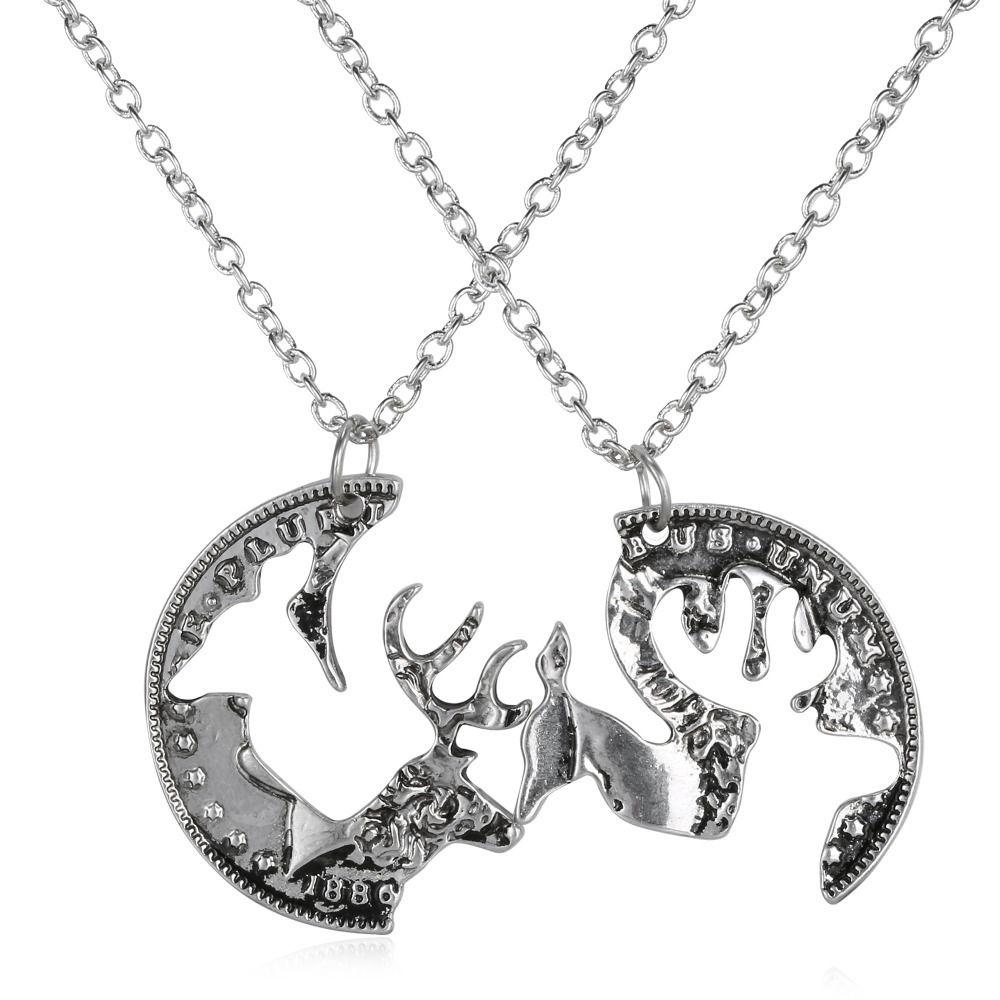 7b668fca127a17 Wholesale-Puzzle Necklace Engraved Boyfriend girlfriend Deer Head ...