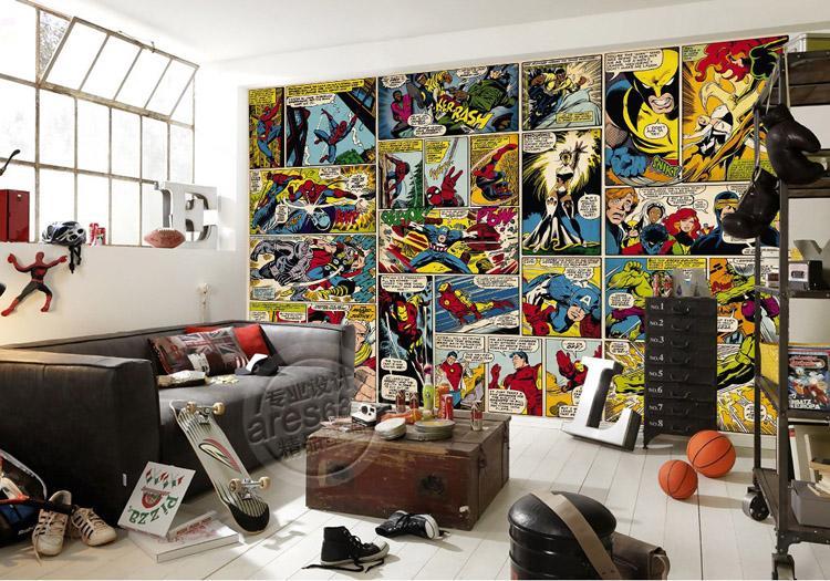 Marvel Comics Papier Peint Personnalisé 3D Papier Peint Captain America Hulk Photo papier peint Enfants Garçons Chambre Bureau Boutique Art Décoration de la chambre Super-héros
