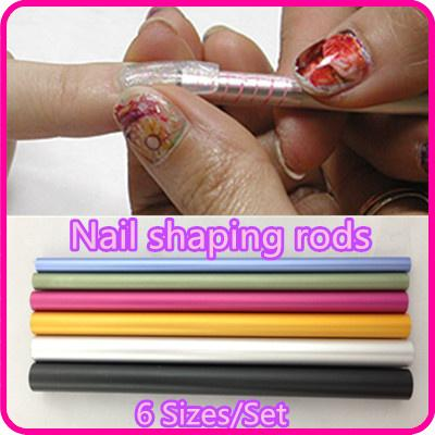 Wholesale- 6 Pcs Nail Art Tools Different Size Curve Rod Sticks Artificial Nail Tool + Free Shipping ( NR-WS65 )