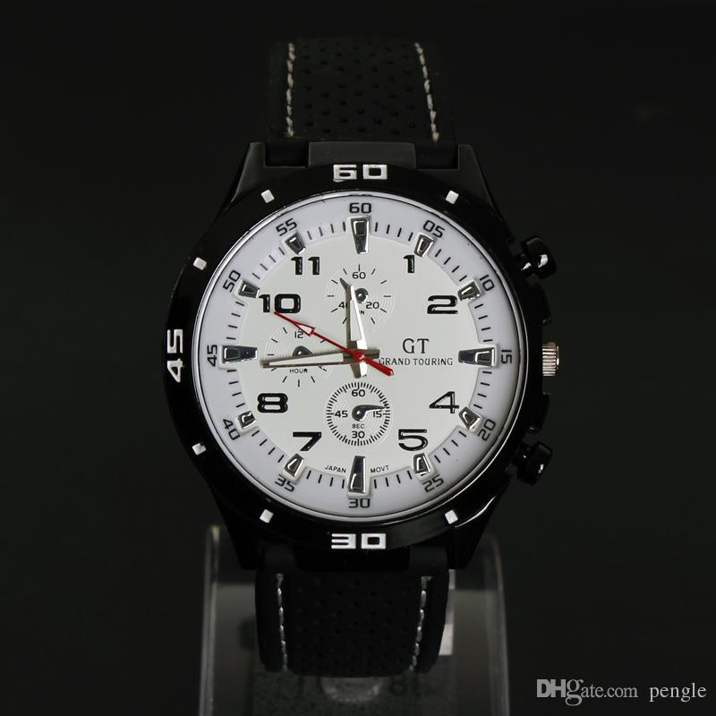 Hot New Men Sport Watch Grand Touring GT Correa de silicona Reloj de pulsera de cuarzo Movimiento Relojes militares