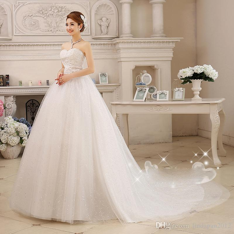 2016 New fashion girl Hot Spring And Summer Wedding Bride Long Tail Bra Straps Lace Cathedral/ Royal Train Bow Embroidery Wedding Dress