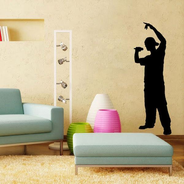 Rapper Silhouette Kids Music Room Decoration Wall Art Decals Quote ...