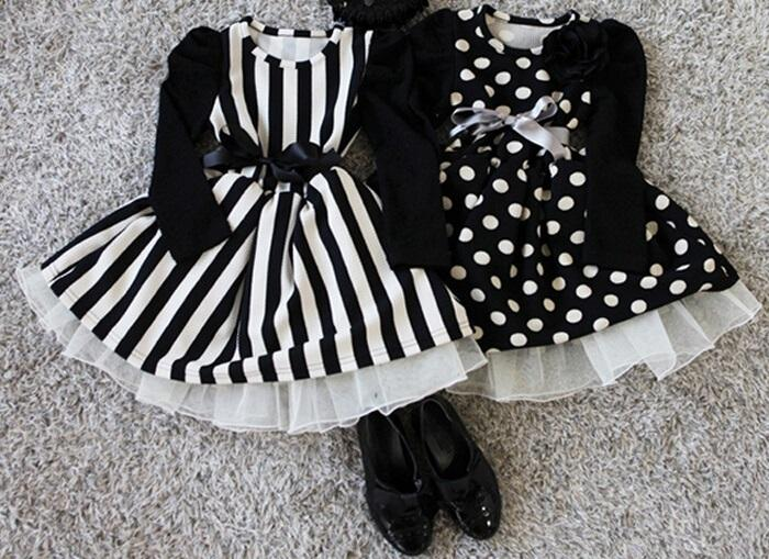 2017 Black White Dress Baby Girls Polka Dot Dress Kids Striped ...