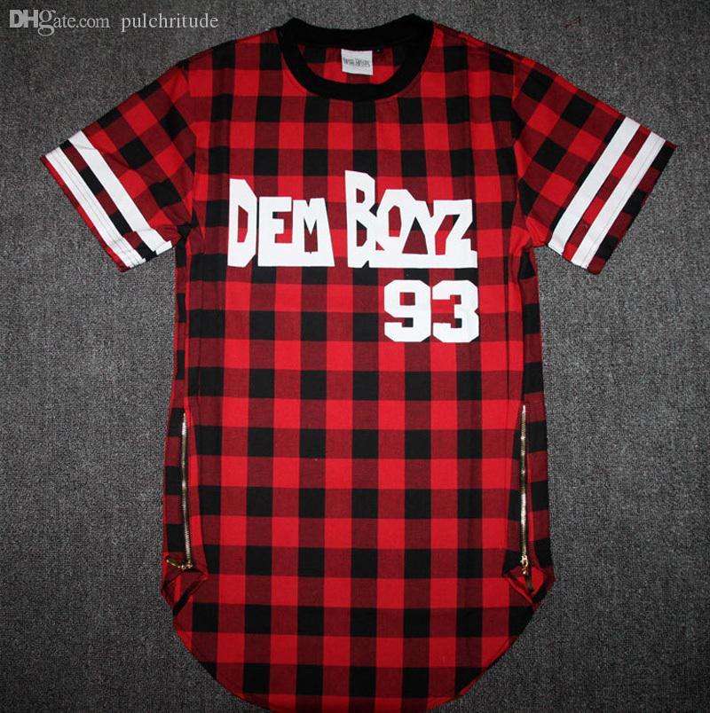 Wholesale-Kanye West Style Tyga Cool Oversized Gold Side Zipper T-Shirt Men Hip Hop Extended Red Tartan Plaid T Shirt Hba Pyrex Shirt
