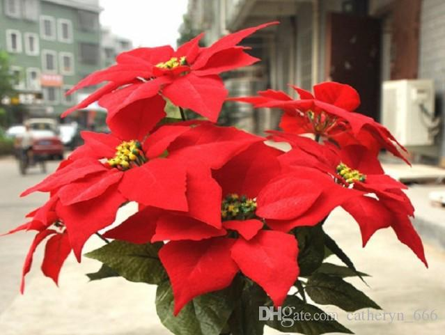 27.6 'Tecido De Seda Natal Poinsétia Bouquet De Veludo Vermelho Xmas Flor Com 7 Cabeças de natal Poinsétia ornamentos Casa e Festa Deco