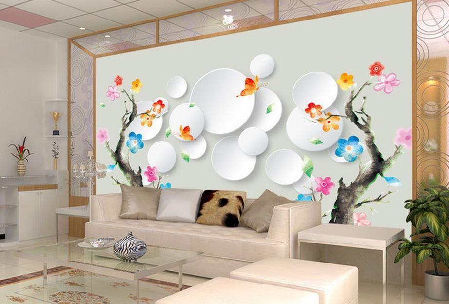 peintures murales photo personnalisé fleurs multicolores bain abstrait arbre 3d wallpaper