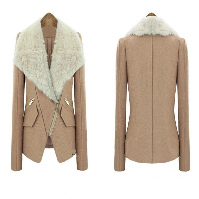 2017 New 2015 Womens Winter Wool Blends Coat Long Sleeve Fur ...