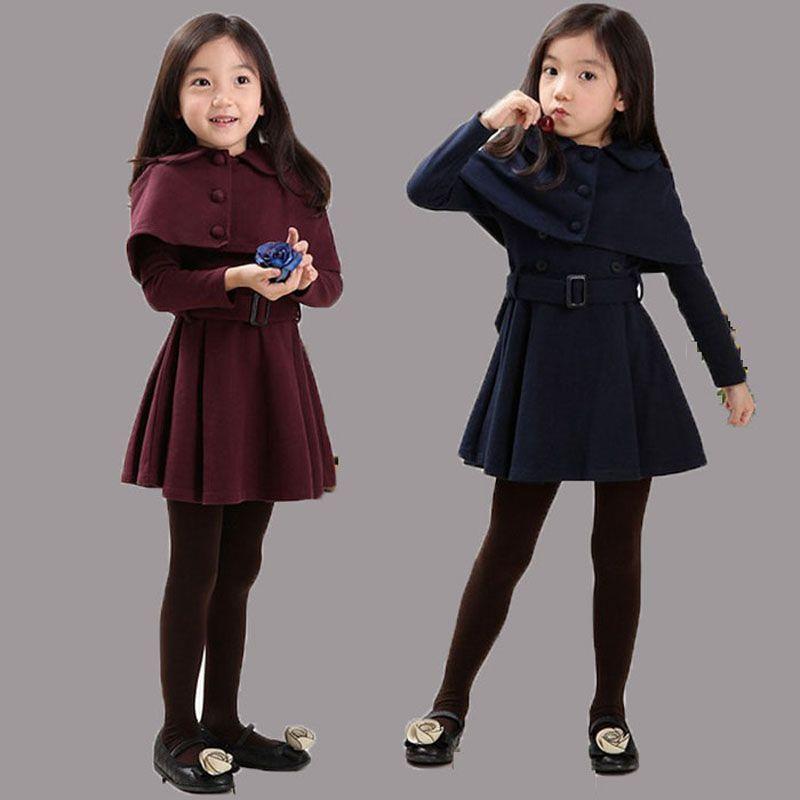 Wholesale Girls Wool Dress Coat Cloak Thick Baby Outerwear Coats ...