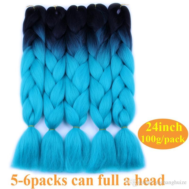 Ombre Kanekalon Jumbo Synthetic Braiding Hair Crochet Blonde Pink Blue Burgundy Grey Hair Extensions Jumbo Braids