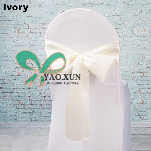 White Lycra Spandex Chair Cover With Ivory Satin Chair