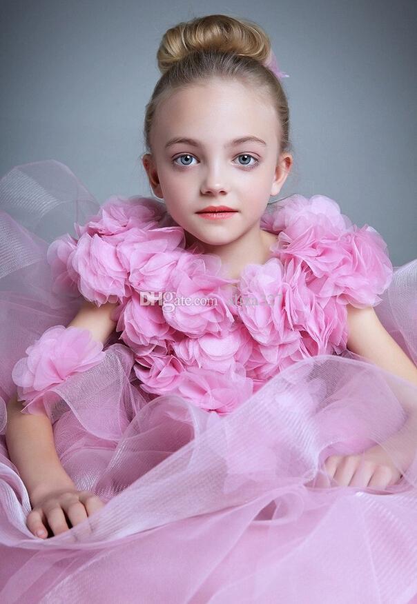Flower Fairy Girls Pageant Dresses Beautiful Organza Ruffles Flower Girl Dresses Lovely little girl Party Dress Children Birthday Dress